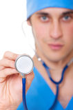 Close-up portrait of doctor with stethoscope Royalty Free Stock Photography