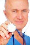 Close-up portrait of doctor with stethoscope Royalty Free Stock Photos