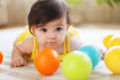 Close up portrait of the eight mounth old baby Stock Images