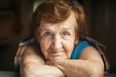 Close-up portrait of an elderly woman. stock photos