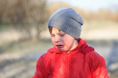 Close-up portrait of an emotional boy in a bad mood Royalty Free Stock Photography