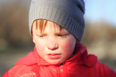 Close-up portrait of an emotional boy in a bad mood Royalty Free Stock Photos