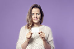Close-up portrait of european young smiling business woman holdi Stock Photo