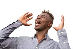 Close up excited young african man with surprised expression on white background. Close up portrait of excited young african man with surprised expression on Royalty Free Stock Images