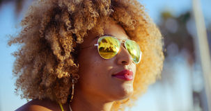 Close Up Portrait of Exotic Girl with Afro Haircut Stock Images