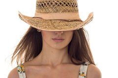 Close up portrait without eyes of beautiful young brunette woman with straw hat posing isolated on white background Stock Photos
