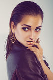 Close up portrait of fashion caucasian model in leather jacet Royalty Free Stock Image