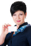 Close-up portrait of female holding credit card Royalty Free Stock Photos