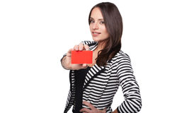 Close-up portrait of female holding credit card stock photo