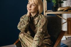 Portrait of young female soldier royalty free stock photos