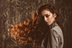 Beautiful curly red hair royalty free stock images