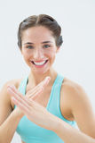Close up portrait of a fit woman in defending posture Stock Photo
