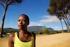 Close up portrait of fit young african sports woman Stock Photos