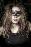 Close-up portrait.in fêmea da máscara do carnaval do ce de Lady.Girl.Veni dianteiro Fotografia de Stock Royalty Free