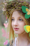 Close up portrait of a folk style beautiful girl in a circlet Royalty Free Stock Photography
