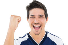 Close up portrait of football player cheering Royalty Free Stock Images