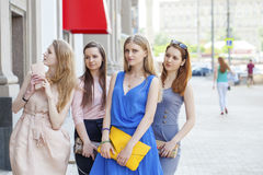 Close-up portrait of four urban women outside Royalty Free Stock Photos