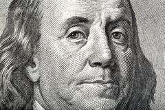 Close-up portrait of Franklin on American money. Stock Photos