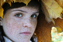 Close-up portrait of freckled teenage girl Stock Photo
