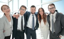 Close up.portrait of a friendly business team. stock photo