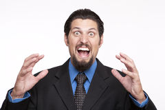Close-up portrait of an frustrated businessman shouting Royalty Free Stock Images