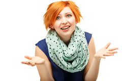 Close-up portrait of a funny red-haired girl Stock Photo