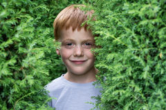Close up portrait of a ginger smiling boy Royalty Free Stock Images