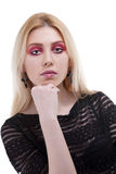 Close up portrait of a girl with artistic make up isolated on wh Royalty Free Stock Photos