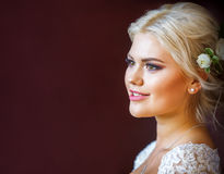 Close-up portrait of girl bride. Portrait of girl bride and a place for copyspace Stock Photos