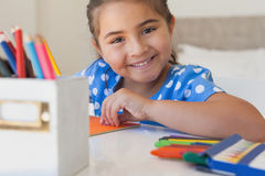 Close-up portrait of a girl drawing Stock Images