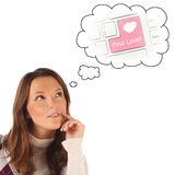 Close-up portrait of girl dreaming about Internet dating (isolat Stock Photo