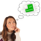 Close-up portrait of girl dreaming about on-line insurance (isol Stock Photos