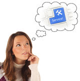 Close-up portrait of girl dreaming about on-line service (isolat Stock Photos