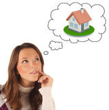 Close-up portrait of girl dreaming about own dwellings (isolated Stock Photos