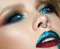 Close up portrait of girl with fashion colorful make up royalty free stock photos