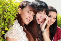 Close up portrait of girl friends smiling Stock Photography