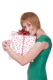 Close up portrait of girl with huge gift Royalty Free Stock Photography