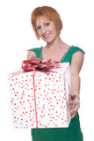 Close up portrait of girl with huge gift Stock Photography