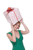 Close up portrait of girl with huge gift Stock Photo