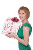 Close up portrait of girl with huge gift Royalty Free Stock Photos