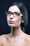 Close up portrait of a girl with optical glasses Stock Photo