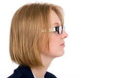 Close-up portrait of a girl in profile. Stock Photos