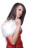 Close up portrait of girl in santa claus dress Stock Photos