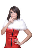 Close up portrait of girl in santa claus dress Stock Photography