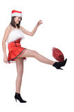 Close up portrait of girl in santa dress with bag Royalty Free Stock Image