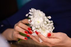 Close up portrait of girls manicured hands holding small cute flower bouquet Limited depth of field royalty free stock photo