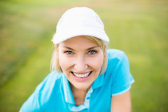 Close-up portrait of golfer woman Royalty Free Stock Photos