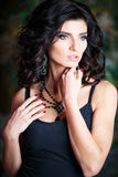 Close-up portrait of gorgeous brunette woman with perfect makeup and hairstyle Stock Images