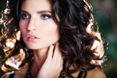 Close-up portrait of gorgeous brunette woman with perfect makeup and hairstyle Royalty Free Stock Photo