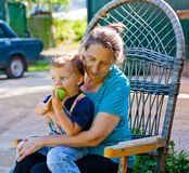 Close-up portrait of grandmother and grandson Royalty Free Stock Photo